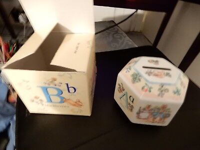 Beatrix Potter Vintage Hexagonal Peter Rabbit Money Box Brand New In Box Unused