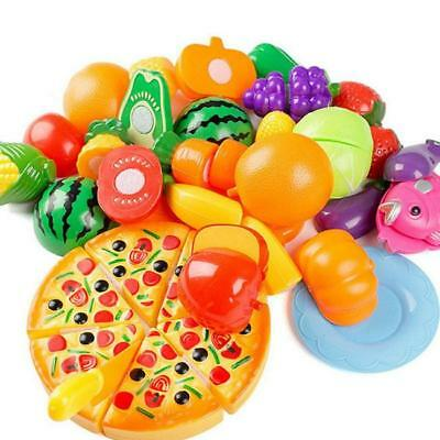 24pcs Kids Toy Pretend Role Play Kitchen Fruit Vegetable Cake Food Cutting LC