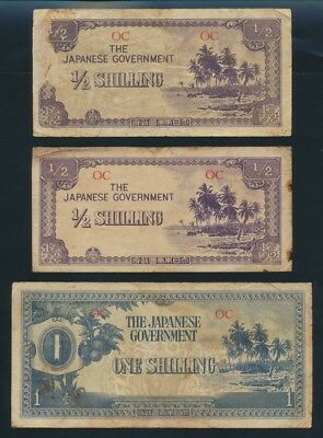 """Oceania: JAPANESE INVASION WWII 1942 ½ & 1 Shilling """"SET OF 3 NOTES"""". Pick 1a-2a"""