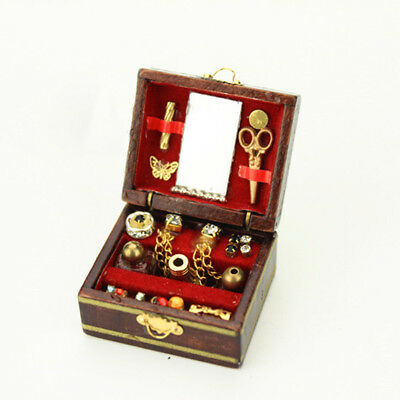 1:12 Scale Dolls House Miniature Filled Wooden Jewelry Box Bedroom Accessory