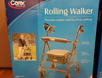 Carex Classics Rolling Walker with the padded seat and backrest provide