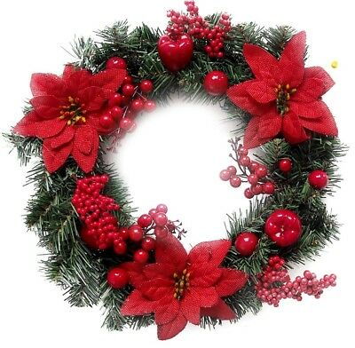 """15"""" Chunky Christmas Red Berry Rustic Hanging Door Wreath Poinsettia Decoration"""