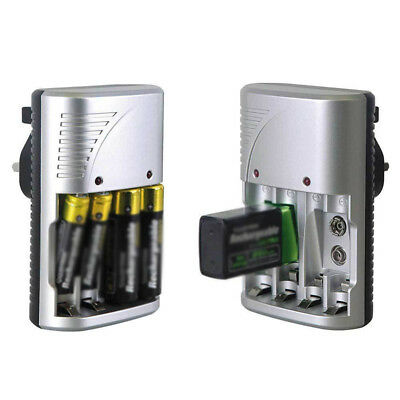 1 Pcs Mains Plug Battery Charger Aa, Aaa Or 9V Pp3 Ni-Mh, Ni-Cd Rechargeable Hot