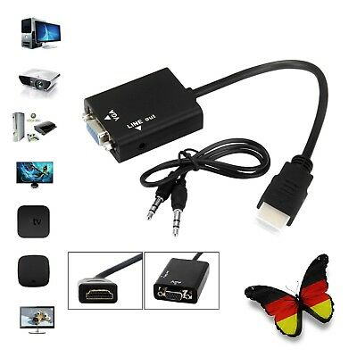 1080P HDMI to VGA Video Converter Adapter Audio Cable Kabel für PC TV XBOX PS3