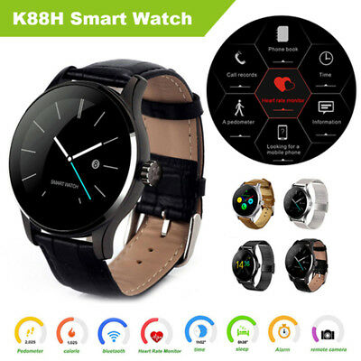 K88H Round IPS Heart Rate Bluetooth Smart Watch Fitness Bracelet for Android IOS