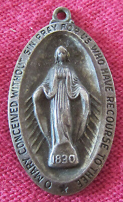Antique Catholic Religious Medal - STERLING - Miraculous - VERY OLD - PATINA