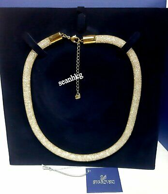 Swarovski 3D Stardust Necklace, golden color clear crystal adjustable 5127501