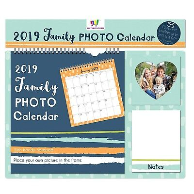 2019 Family Photo Favourite Calendar Personalise Notepad Spiral Bound New Blue