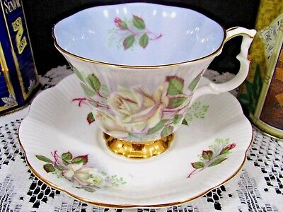 Royal Albert Blue With White Roses Gold Gilt Tea Cup And Saucer