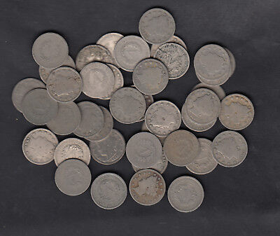 1883-1912 Usa Liberty Head Nickels Coins Lot Of 40