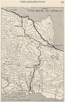 BATTLE OF CRETE 1941. The route to Sphakia. Greece. World War 2 1956 old map