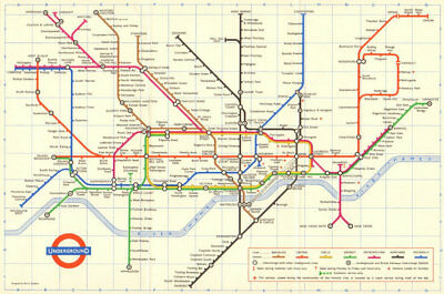 LONDON UNDERGROUND tube map plan. Ongar. Essex Rd. GARBUTT 1965 old