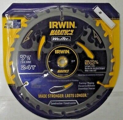 """Irwin 14035 7-1//4/"""" x 24 Tooth Welded Carbide Circular Saw Blade Italy"""