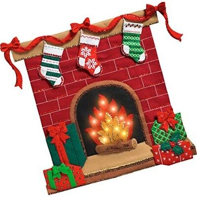 "Bucilla Felt Wall Hanging Applique Kit 19.5""x19""-fireside Glow W/string Lights"