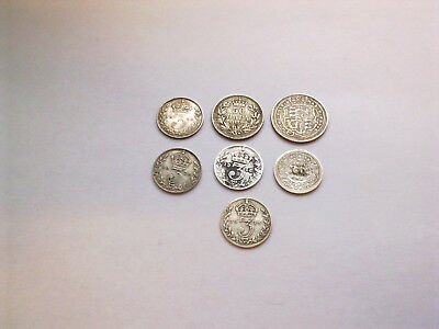 1819 George The 3Rd Sixpence Coin,  Plus 6 Other Silver  Coins