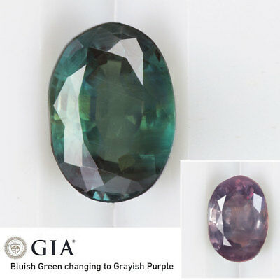 3/4ct GIA CERTIFIED BLUE GREEN TO PURPLE ALEXANDRITE OVAL NATURAL COLOR CHANGE