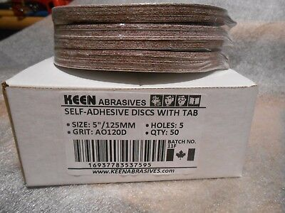 "50 Keen Abrasives 5"" 120 Grit Self Adhesive Sanding Discs With Tabs 5 Holes"