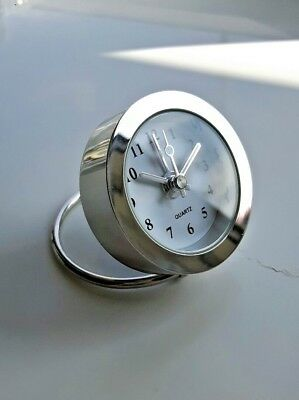 Small Travel Desk Top Alarm Clock Small Chrome Steel Battery New