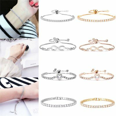Women's Heaat Rhinestone Crystal Bracelet Adjustable Bangle Fashion Cuff Jewelry
