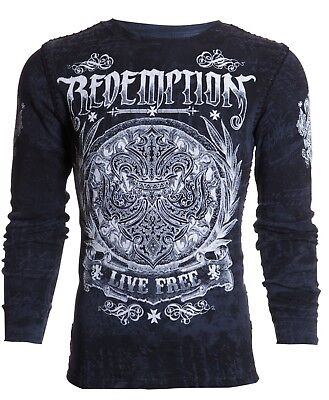 ARCHAIC by AFFLICTION Mens LONG SLEEVE THERMAL Shirt SHIELDED Whipstitch $58 NWT