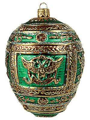 Faberge Inspired Green Napoleon Egg Polish Glass Christmas or Easter Ornament