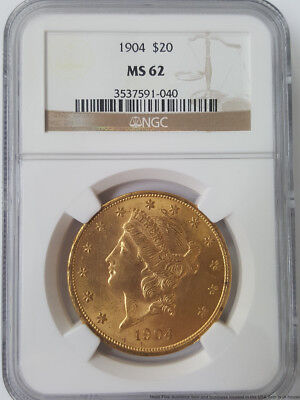 NGC 1904 MS62 $20 Twenty Dollar US Coronet Double Eagle Gold Coin