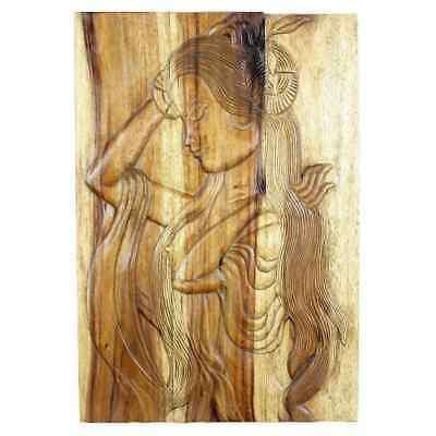 Handmade Acacia Antique Oak Oil Phuying 20 x 30-inch Carved Wall Panel