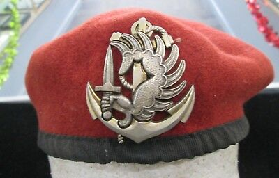 French Marine Paratrooper Beret Hat Badge RARE WW2 Era *