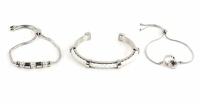 GUESS White Leather Beads Rings Bracelet Set Armband Geschenkset Silver Silber