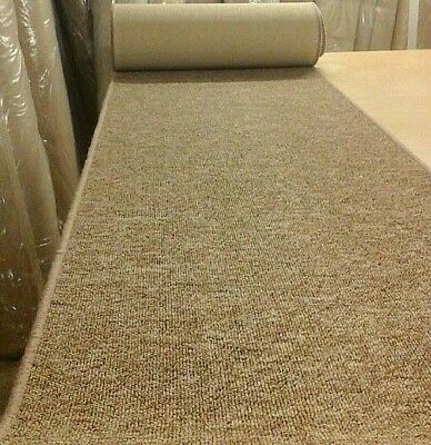 WHIPPED BUDGET FEATURE STAIR CARPET RUNNER 66cm x 8metres BROWN BERBER LOOP