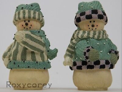 Artison Flair Miss heather's Plum Pudding 2 Different Snowman Figures
