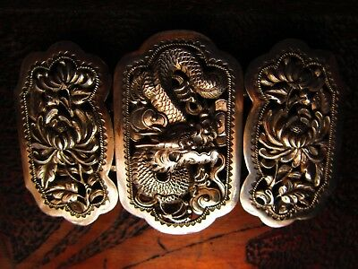 wang hing chinese silver large dragon buckle very good cond 19th century 3.5inch