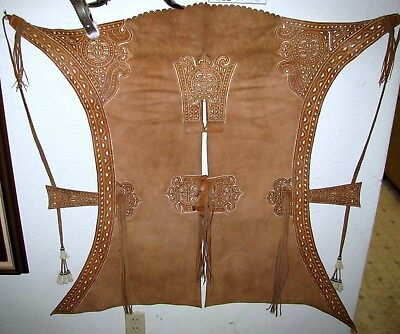 Fine Antique Spanish Colonial Ornate Filigreed Buckstitched Lined Chaps + Wearer