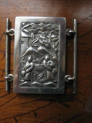 chinese silver large figural buckle very good cond 19th century edwardian