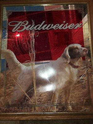 (VTG) 2001 Budweiser beer English Setter dog giant mirror sign Anheuser-Busch