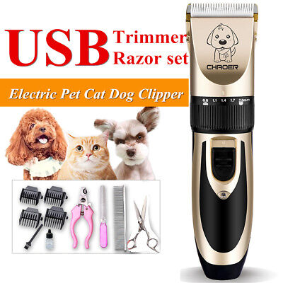 Electric USB Grooming Kit Pet Cat Dog Clipper Shaver Animal Hair Trimmer Tool