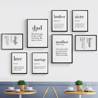 Modern Friend Dad Mother Quotes A4 Poster Nordic Home Decor Wall Art Canvas Gift