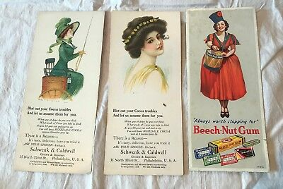 3 Vintage Advertisng Ink Blotters Rosedale Cocoa & Beech-Nut Gum