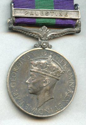 OLD George VI GSM Palestine Clasp 1945 1948 Army Pay Corp General Service Medal