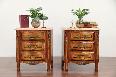 Pair Rosewood Marquetry Italian Marble Top Vintage Chests or Nightstands #30060