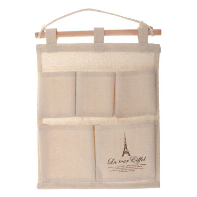 Portable Cotton Linen Closet Door Rear Hanging Bag Wall-mounted Storage Bags