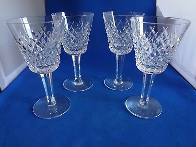 "4 Waterford Irish Crystal ALANA Pattern 6"" Wine Claret Glasses-one price"