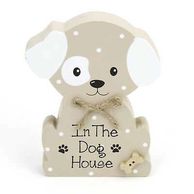 """Wooden Sitting Dog Display - Wordings """" IN THE DOG HOUSE """" 3.5"""" X 4.75"""