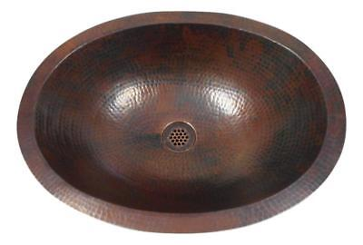 "Large 19"" Oval Copper Bath Sink Flat Edge For Dual Mount Grid Drain Included"