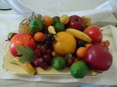 Vintage Faux Fruits/vegetables-Mixed Materials-20+ Pieces-Grapes/apples/lime/ban