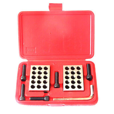 "Pair Steel 0.0001"" Precision 1-2-3 Blocks 23 Holes with Screw Wrench Case"