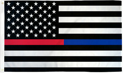 USA Thin Red & Blue Line 3x5ft Flag with Grommets- Support Police & Firefighters