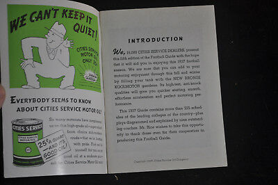 1937 Grantland Rices Cities Service Football Guide - CITGO