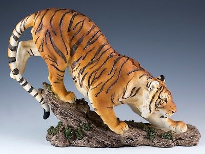 "Bengal Tiger On Rocks Figurine Statue 7.5"" Long - Highly Detailed Resin - New"