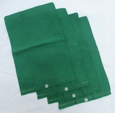 "Lot of 4 Small Fine Vintage Pure Irish Linen ""Green"" Tea Towels w/Orig Tags"